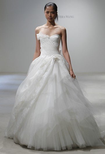 Vera Wang 'Freida' Painted Organza Dress - Vera Wang - Nearly Newlywed Bridal Boutique - 5
