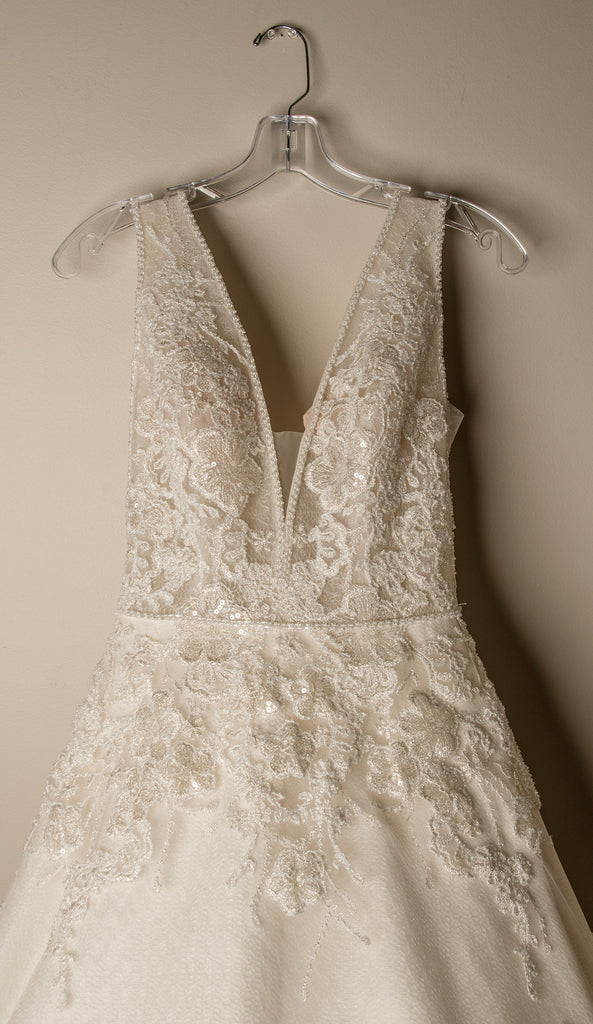 Maggie Sottero 'Alba' size 4 new wedding dress front view on hanger