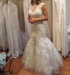 Casablanca 'Celebrate Forever' size 2 sample wedding dress front view on bride