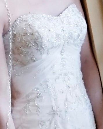 Allure Bridals '8514' size 8 used wedding dress front view close up on bride