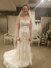 Custom Boutique 'Private Collection' size 8 new wedding dress front view on bride