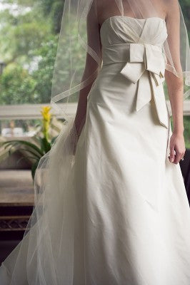 Vera Wang Domonique Silk A-line Wedding Dress - Vera Wang - Nearly Newlywed Bridal Boutique - 1