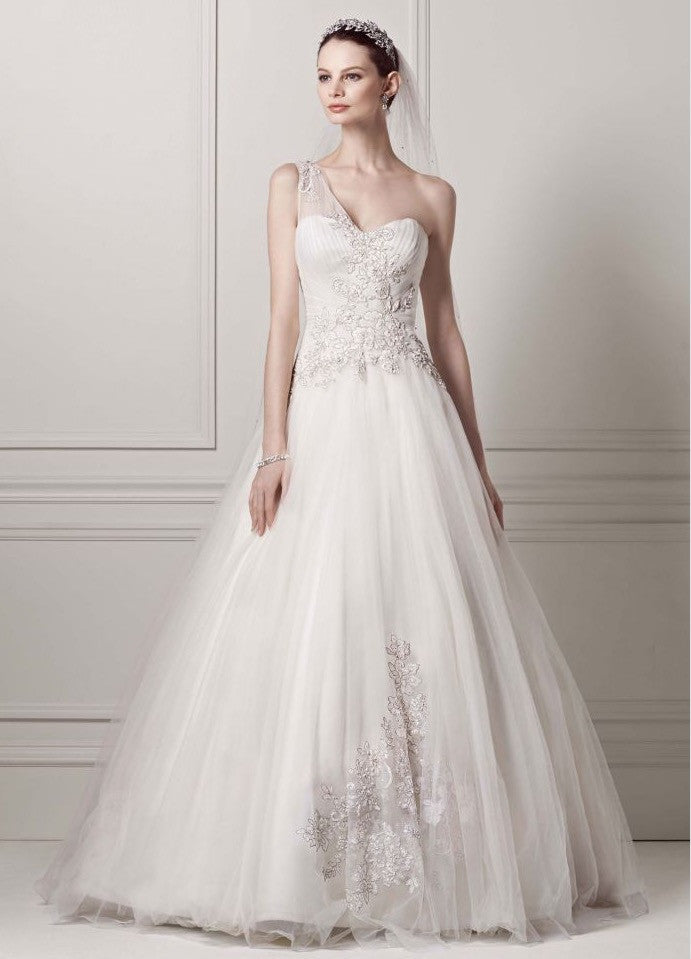 Oleg Cassini 'One Shoulder' - Oleg Cassini - Nearly Newlywed Bridal Boutique - 1
