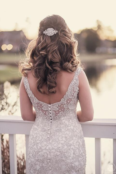 Allure Bridals 'C369' size 12 used wedding dress back view on bride
