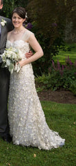 Francesca Miranda 'Ambrosia' size 2 used wedding dress front view on bride