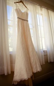 Paloma Blanca Lace Fit & Flare Wedding Dress - Paloma Blanca - Nearly Newlywed Bridal Boutique - 2