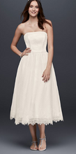 Load image into Gallery viewer, Galina Dotted Tulle Tea-Length Wedding Dress with Lace 'WG3858'