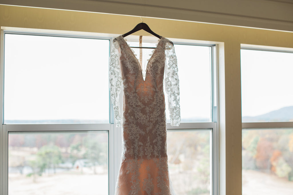 Galina 'Signature' size 2 used wedding dress front view on hanger