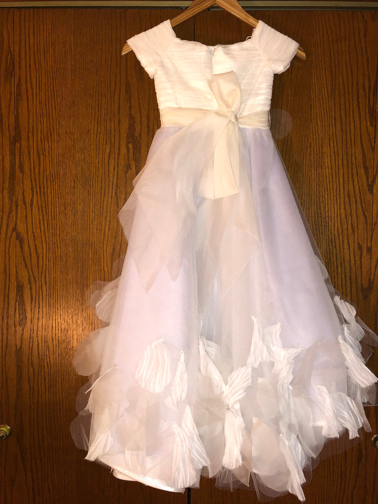 Exquisite Brides 'Ivory and Lavender Elaborate Flower Girl Dress- 118' size 8 child's flower girl dress back view on hanger