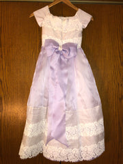 Exuisite Brides 'Lavender and Ivory Intricately Pleated Long Flower Girl Dress' size 8 child's flower girl dress back view on hanger