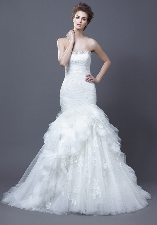Enzoani Haldana Trumpet Tulle Wedding Dress - Enzoani - Nearly Newlywed Bridal Boutique - 1