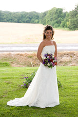 Demetrios '120' size 2 used wedding dress front view on bride
