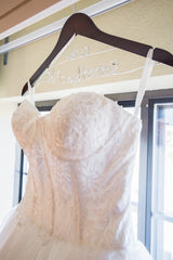 Lis Simon 'Gwyneth' size 4 used wedding dress front view on hanger