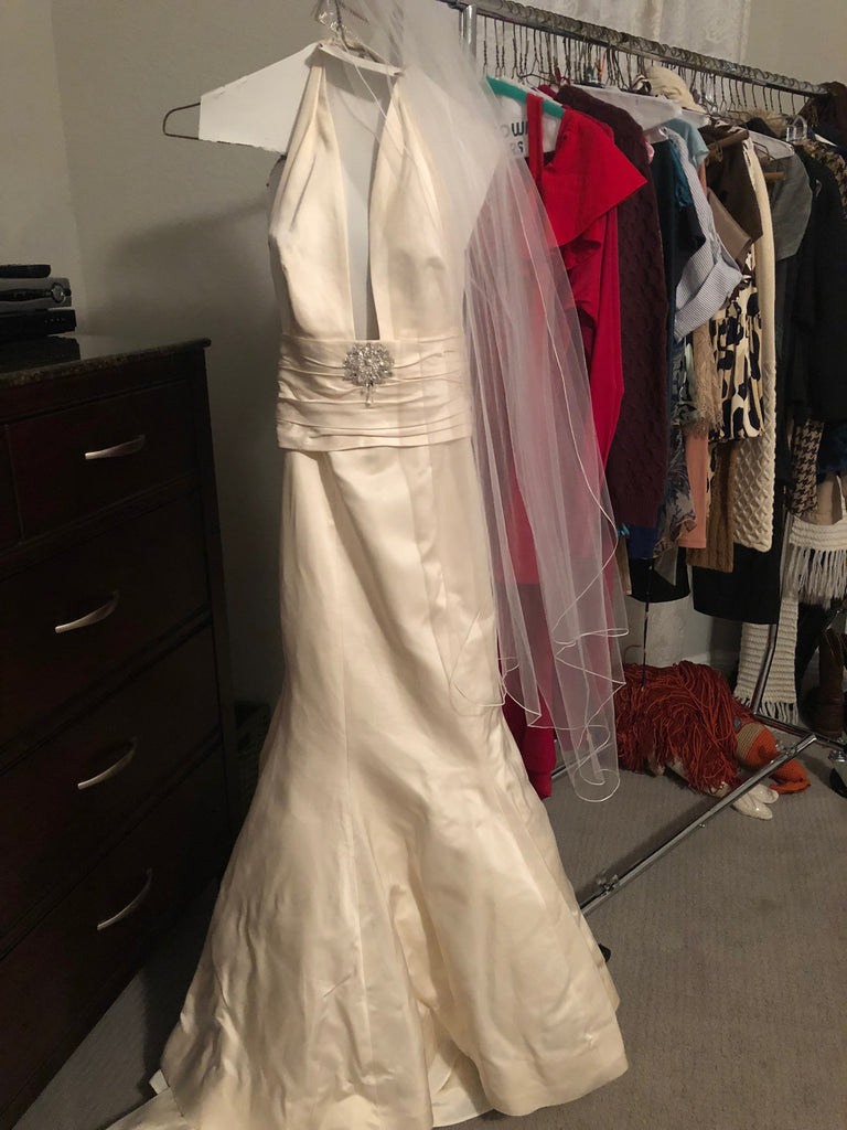 Custom 'Classic/Sexy' size 4 used wedding dress front view on hanger