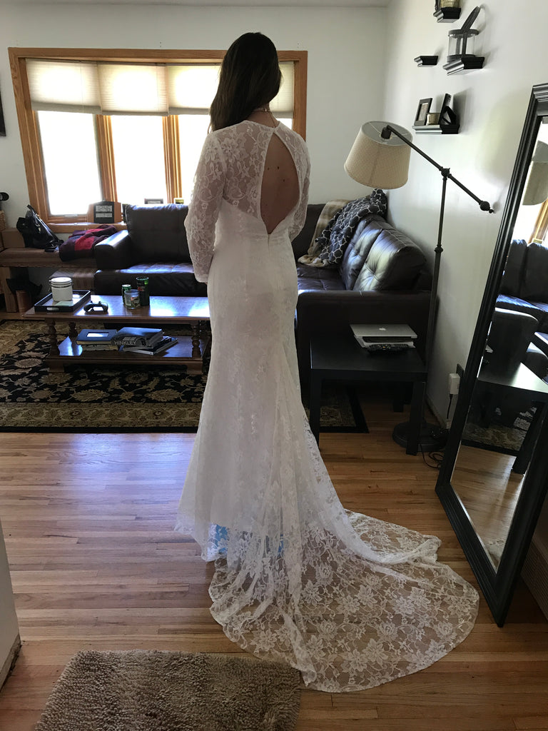 Custom 'Lace' size 4 used wedding dress back view on bride