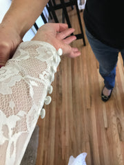 Custom 'Lace' size 4 used wedding dress view of sleeve