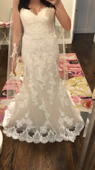 Enzoani 'Kara' size 6 new wedding dress front view on bride