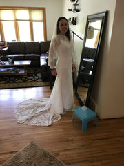Custom 'Lace' size 4 used wedding dress front view on bride