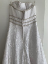 Load image into Gallery viewer, Cosmobella '7385' size 12 used wedding dress back view on hanger
