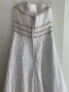 Cosmobella '7385' size 12 used wedding dress back view on hanger