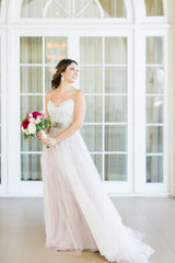 BHLDN 'Nina' size 4 used wedding dress front view on bride