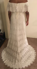 Galina 'Off the Shoulder' size 14 new wedding dress back view on bride