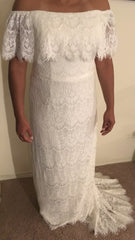 Galina 'Off the Shoulder' size 14 new wedding dress front view on bride