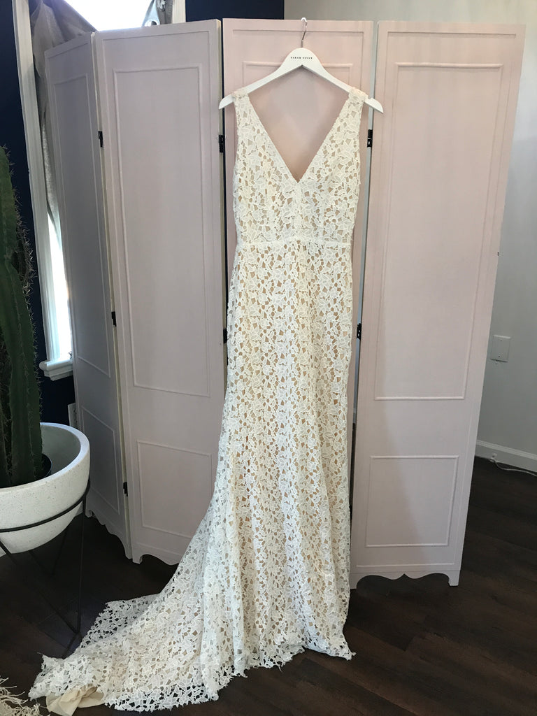 Sarah Seven 'Paige' size 8 used wedding dress front view on hanger