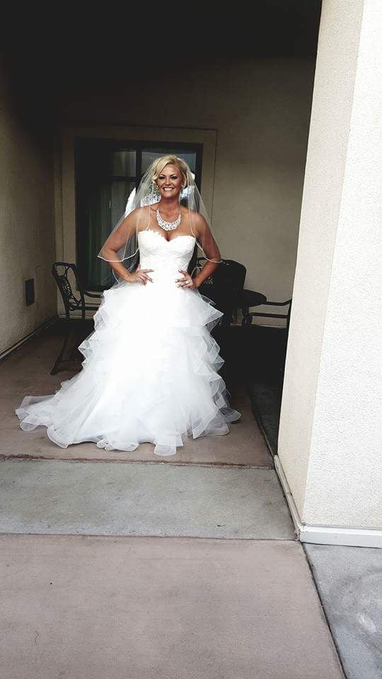 Pronovias 'Trinity' size 12 used wedding dress front view on bride