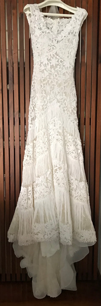 Pronovias 'Ksira' size 4 used wedding dress front view on hanger