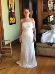 Galina 'Bohemian' size 10 new wedding dress front view on bride
