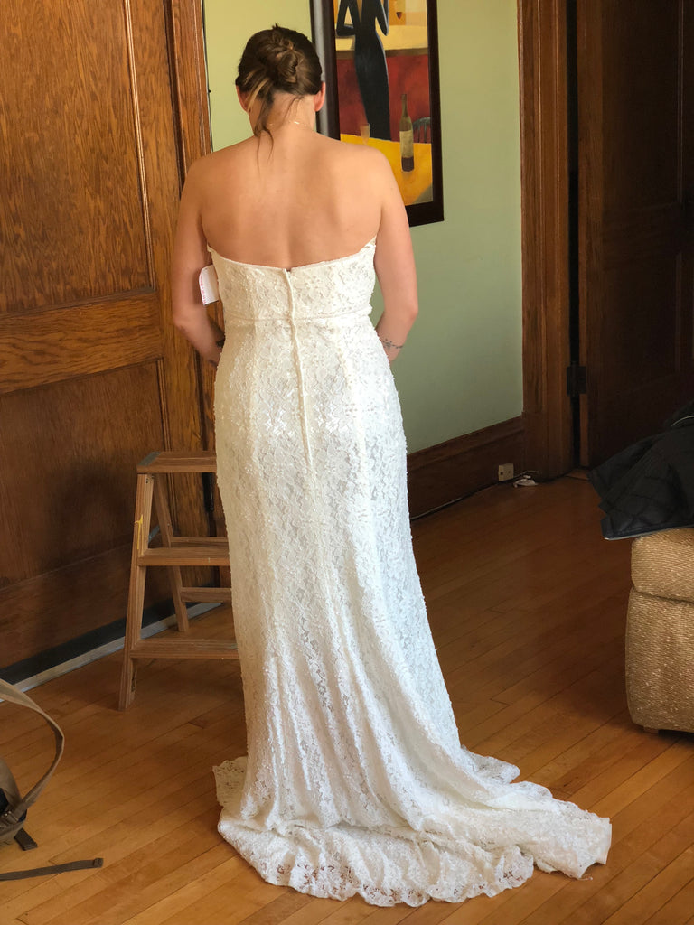 Galina 'Bohemian' size 10 new wedding dress back view on bride