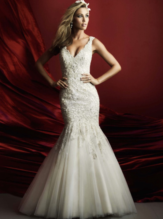 Allure Bridals 'C369' size 12 used wedding dress front view on model