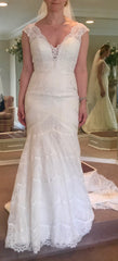 Madison James '256' size 8 used wedding dress front view on bride