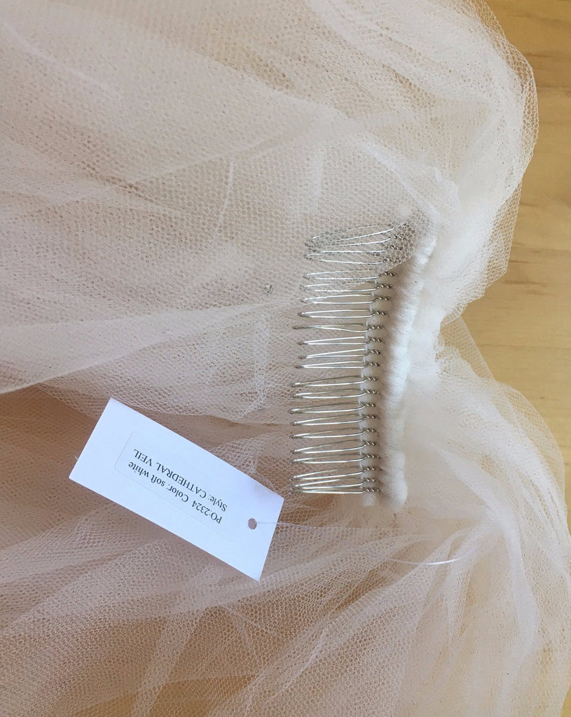 Kirstie Kelly 'Cathedral Veil with crystals' new wedding veil view with tag
