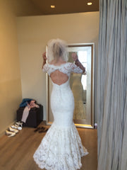 Marchesa lace 3/4 sleeve mermaid - Marchesa - Nearly Newlywed Bridal Boutique - 3