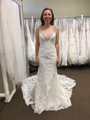 Allure 'C261' size 8 sample wedding dress front view on bride