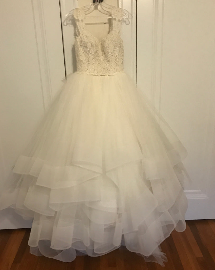 Lazaro 'Princess' size 6 used wedding dress front view on hanger