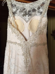 Casablanca 'Champagne' size 8 new wedding dress back view on hanger