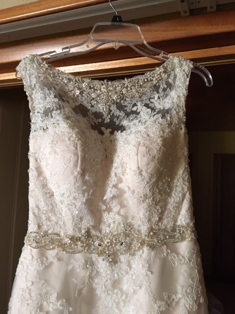 Casablanca 'Champagne' size 8 new wedding dress front view on hanger