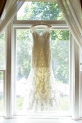 Allure Bridals 'Lace Mermaid' size 6 sample wedding dress front view on hanger