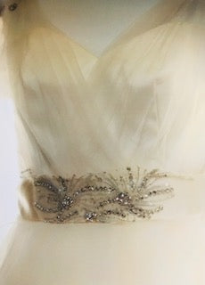 Alvina Valenta 'Off White' size 2 used wedding dress front view close up of belt