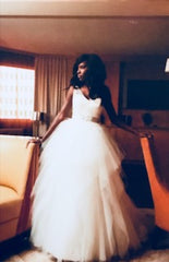 Alvina Valenta 'Off White' size 2 used wedding dress front view on bride