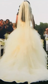 Alvina Valenta 'Off White' size 2 used wedding dress back view on bride