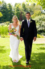 Galina 'Lace Sheath' size 4 used wedding dress front view on bride