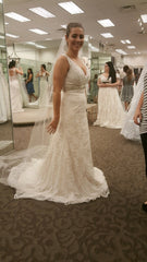 David's Bridal 'Beaded Lace' size 4 new wedding dress front view on bride