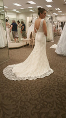 David's Bridal 'Beaded Lace' size 4 new wedding dress back view on bride