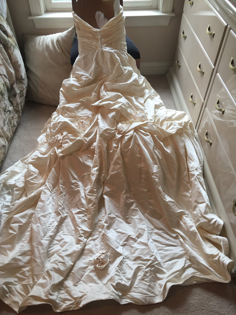 Monique Lhuillier 'Camolot' size 4 used wedding dress back view of dress