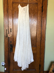 Galina 'Bohemian' size 10 new wedding dress front view on hanger