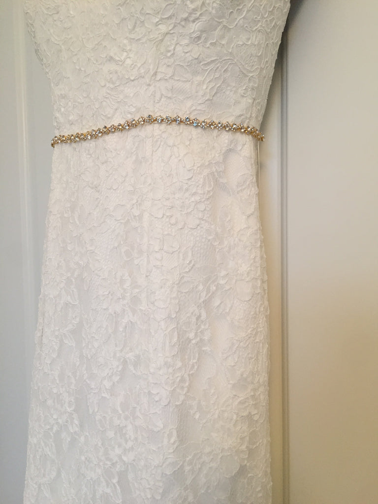 Demetrios '1443' size 4 used wedding dress front view on hanger
